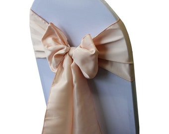 Blush Peach Lamour Satin Chair Sashes (Pack of 10) | Wedding Chair Sashes