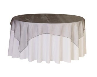 72 inch Square Organza Table Overlay Dark Silver | Wedding Table Overlays
