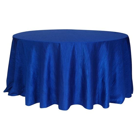120 inch royal blue crinkle taffeta round tablecloth wedding for 120 inch table cloth