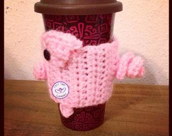 Piggy Coffee Collar/Cozy Crochet Pattern, pig collar, pig cozy, coffee collar, coffee cozy, crochet coffee collar cozy