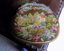 Antique Petit Point Tapestry Purse, Beauiful, Silver Frame