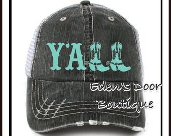 Y'all Boots Texas Trucker Hat Pink Aqua