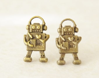 Robot Stud Earrings / Robot Jewelry / 3D Robot Charms / Bronze Robot Earrings / Geek Earrings / Sci-fi Robot Earrings / Girl Robot Jewelry