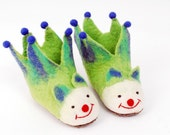Green and Blue Jester Felt Animal Slippers for Children, soft booties made from wool