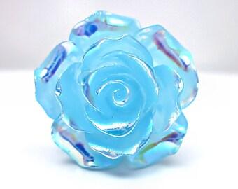 Blue Rainbow Rose Ring; Adjustable Silver Ring; Blue Resin Rose Ring; Rainbow Ring; Handmade Blue Ring; AB Rose Ring; Resin Rose Jewelry