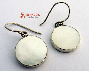 Mother of Pearl and Sterling Round Earrings