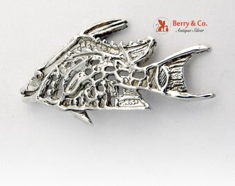 Figural Fish Brooch Open Work Designs Sterling Silver