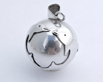 Round Ball Bell Pendant Kissing Dolphins Decoration Sterling Silver