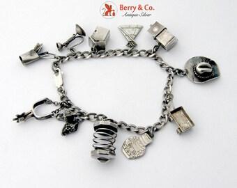 Vintage Western Charm Bracelet Sterling Silver 1930