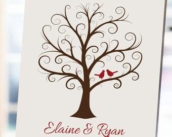 Wedding Fingerprint Tree - 18x24 - Thumbprint Wedding Tree - NB - Guestbook - Wedding Guest Book - Wedding Tree