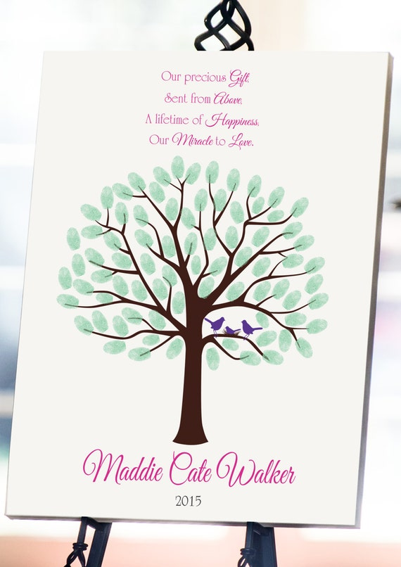 tree fingerprint tree guest book thumbprint tree baby shower tree