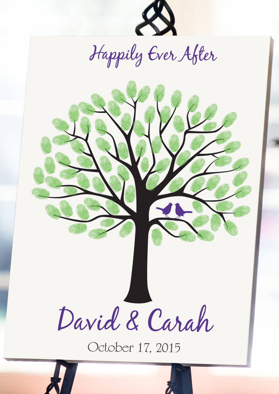 Wedding Tree Guest Book 18x24 Fingerprint Tree Wedding
