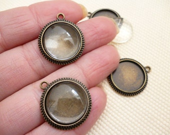 16 mm Kit Brass Round Cameo and Glass Cabochon_20 pcs_RB86035