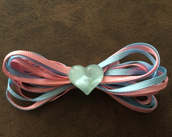 Pink and Light Blue Ribbon Hair Clip with Resin Heart
