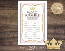 Instant Download Pink Princess Word Scramble Baby Game, Gold Glitter Princess Baby Shower Games, Printable Crown Word Scramble 66A