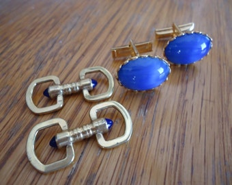 Set of Two Blue Stone Cufflinks