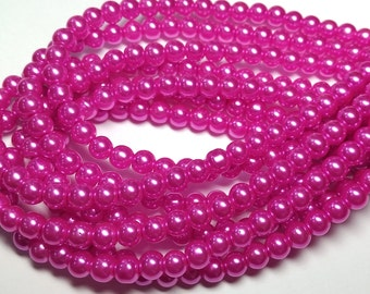 Hot Pink round glass pearls - 6mm