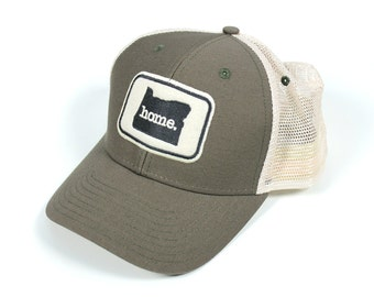 Oregon Home State Apparel Hat: Ouray Soft Mesh Cap in Olive Green