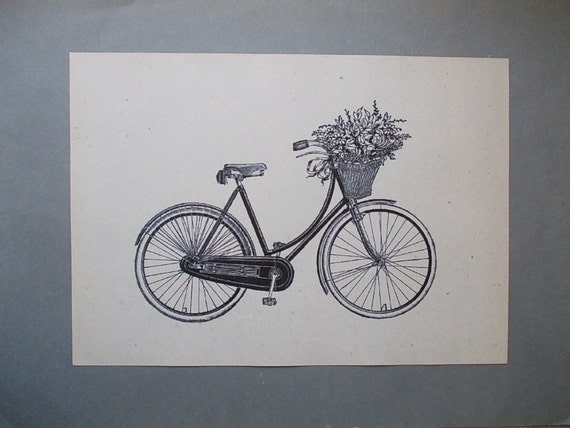 Items similar to vintage bicycle print print on vintage for Bicycle decorations home