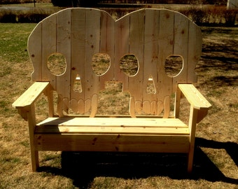 Double king size wooden  skull bench, skeleton ,  skulls with fangs, patio furniture, porch swing,settee,garden bench,