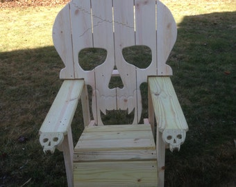 Skull Chair Adirondack Chair Yard Furniture Solid Wood
