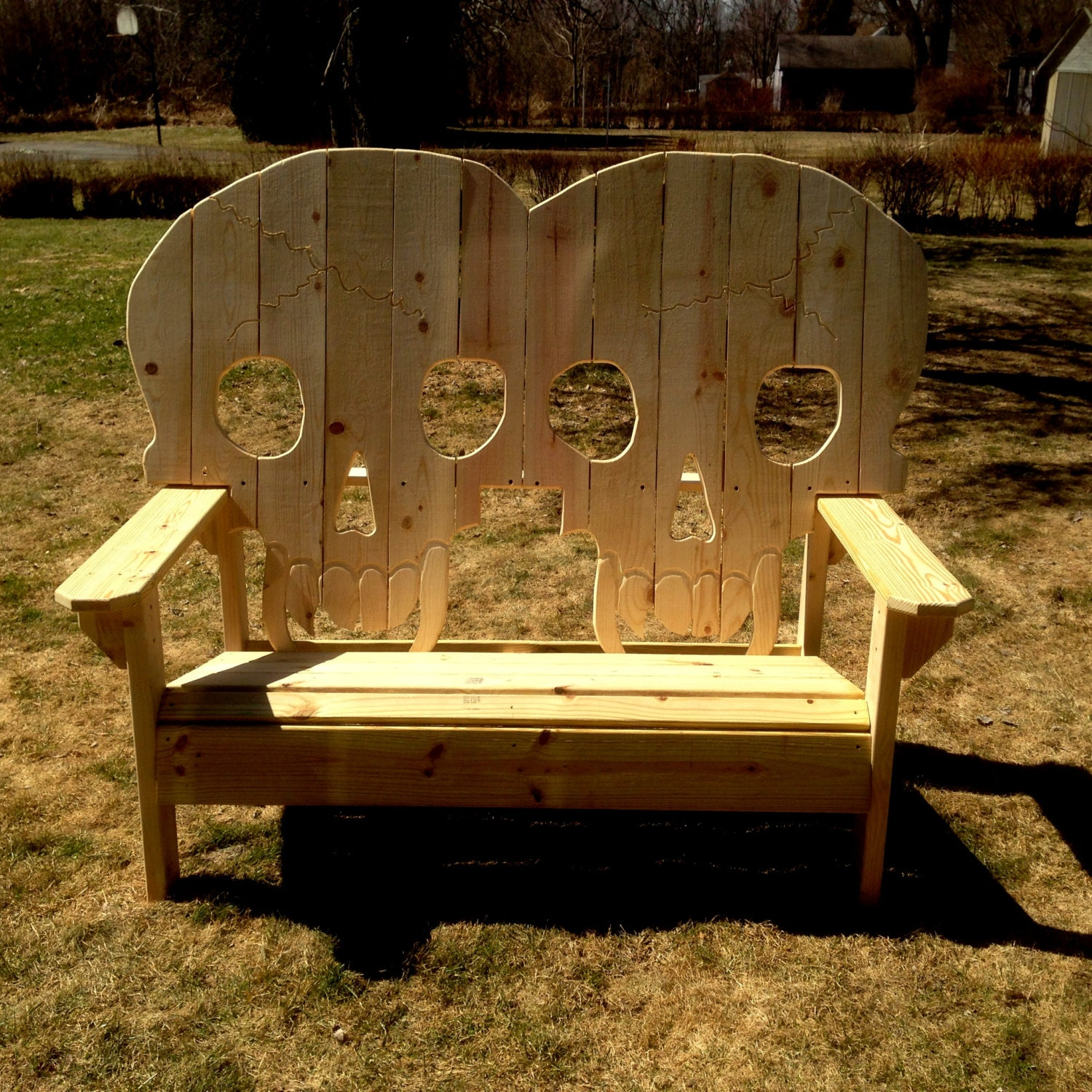 Wood Skull Lawn Chairs ~ Double king size wooden skull bench skeleton skulls with