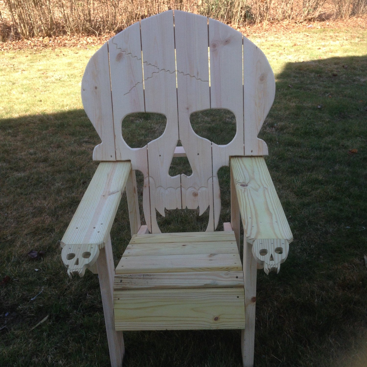 Wood Skull Lawn Chairs ~ Skull chair adirondack queen sized yard