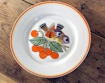 Vintage Kids Plate, Soviet Ceramic White Bowl, Birds and Cherries Picture, Handpainted Plate, Collectible Plate