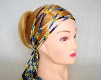 Gypsy head scarf wrap Crochet skinny headscarf Hippie trellis hair band scarf Mesh headwrap bandana, Womens hair accessory Gift for her