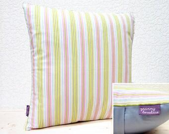 "Handmade 16""x16"" Pink/Blue/Green Stripe Design Fabric by Tanya Whelan Cotton Cushion Pillow Cover"