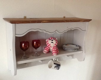 French Style Shabby Chic Shelf Wall Unit with hooks