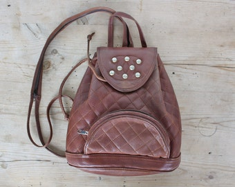 Brown Quilted Leather Backpack, Studded Shoulder Bag, Bag, Purse from the 80's