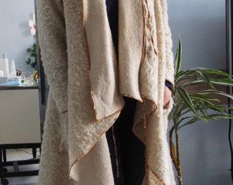 Asymmetric Extravagant Coat Wool  Playful Long Coat with Big Pockets Long Cardigan & Nara DP001