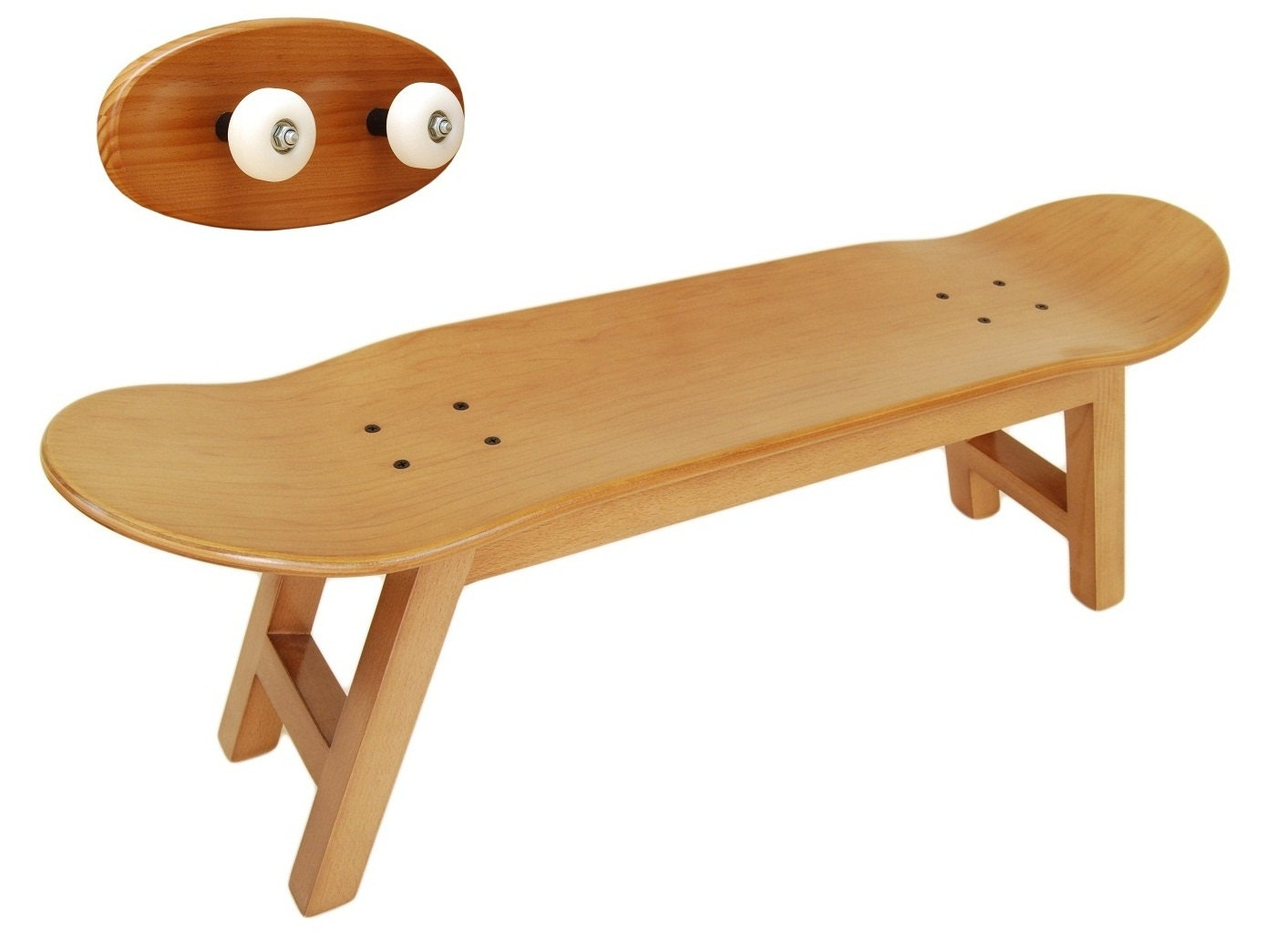 Skateboard Stool And Coat Rack Honey Color Free By Skatehome