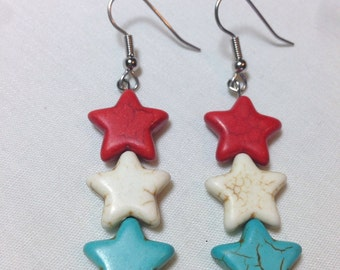 Red, White, and Blue Star Earrings