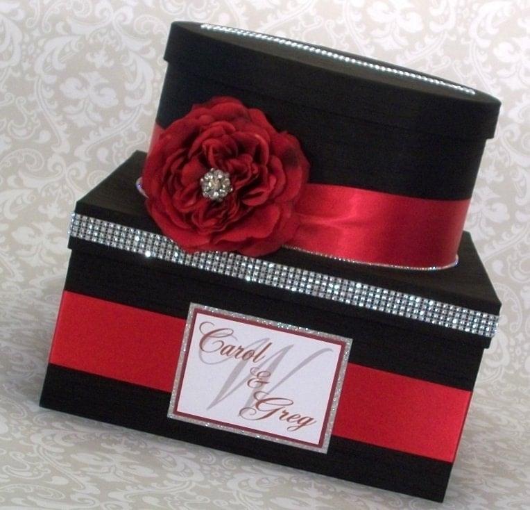 Wedding Card Box Black Card Box Red and Black Wedding Card – Red Wedding Card Box