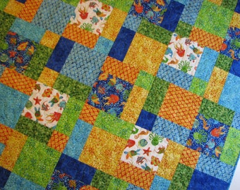 "Baby Patchwork Quilt, Sea Life Nursery Quilt, Scrappy Lap Quilt, Blue Green Orange Toddler Quilt, 46"" x 46"", Quiltsy Handmade"