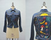 70s Embroidered Jean Jacket - Vintage Seventies Colorful Embroidery on Rare Pitch Riders Denim Jacket Happy Faces Mushrooms Olympic Motifs