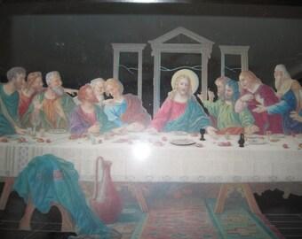 Vintage Last Supper Mirror w/ wooden frame Rare