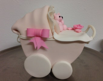 Fondant or Gum Paste carriage / stroller Cake topper