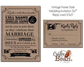 Custom Vintage Kraft Paper Wedding Invitation Printable
