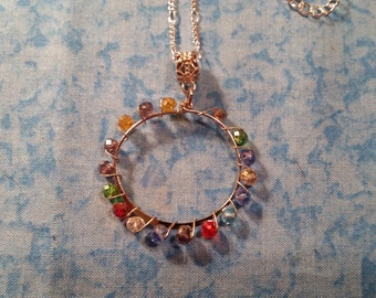 Multi Colored Wire Wrapped Necklace - Silver Tone