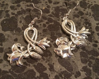 Large Floral Earrings- Silver Tone