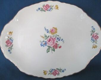 Vintage Hazel Scio Pottery USA  Porcelain Bouquet Platter Tray Marked Vintage Serving Vintage Pottery Housewares Dining