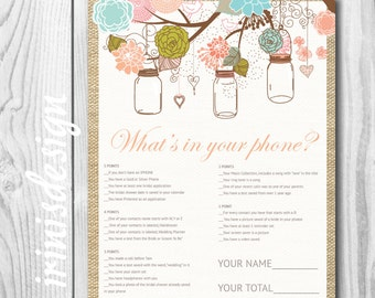 What's in your phone Bridal Shower Game | mason jars hanging flowers | Print at Home, printable  | 110