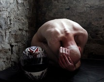 """Self Portrait Fine Art Nude - Matted 8"""" x 10"""" Color Photograph Kneeling Naked Bald Male Figure Motorcycle helmet Goth Stone Wall Photo"""