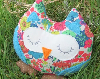 Owl doorstop.  Breeze, a snoozy owl doorstop.  Owl bookend.  Made from Liberty Lawn.