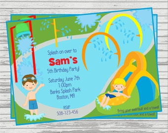 Boys Splash Park, Water Slide DIGITAL Birthday Invitation.