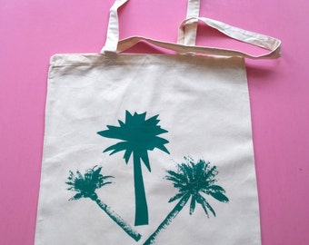 green palm trees, screen printed cotton tote bag