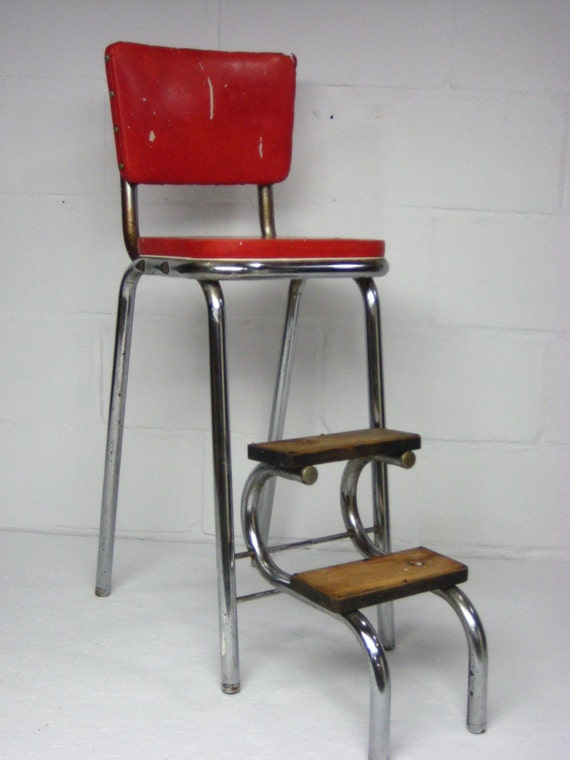 Vintage Kitchen Stool Mid Century Red And Chrome With Fold